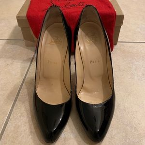 Christian Louboutin 100 Black Patent Leather Pumps